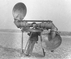 collectivehistory:  Old school headphones? This is an acoustic listening device, pre 1940s. (Source)