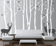Scheme 1 colors:Trees and Leaves - WhiteSnow - Light Grey, Birds and Deer - Dark GreyTrees, Snow, Leafs, Birds and Deer can be arranged any way you
