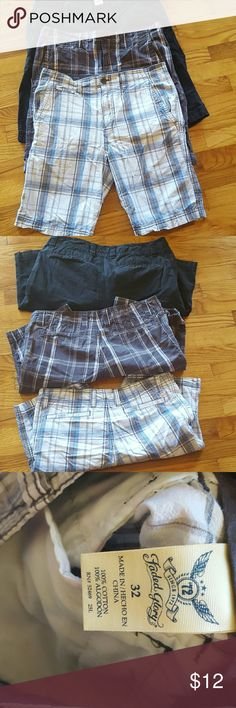 3 men's short bundle 100% cotton 3 pairs of men shorts. My son wore these for one summer and outgrew them. No damage and still have a ton of wear left. All size 32. Faded Glory Shorts