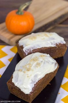 Pumpkin Bread and Brown Sugar Cream Cheese Frosting... satisfy your fall cravings!