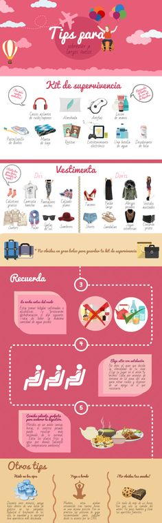 This looks informative...I just need to translate it. Tips para sobrevivir a vuelos de largo recorrido. Infografía de viajes. Travel…