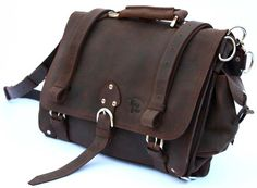 Leather Briefcase Messenger Bag, X-LARGE - Rich Chocolate Brown Distressed, Rugged