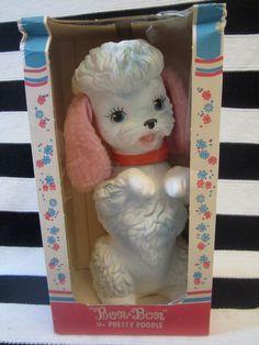 Edward Mobley Poodle, 1960 Bon Bon in original box, Arrow Rubber and Plastics corp. squeak rubber toy,