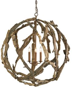 Driftwood Orb Chandelier by Currey Company. Available to order at Karen's Fabrics.