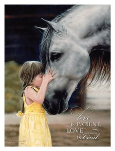 Mounted art print x is of a pigtailed little girl in summer sundress, with horse. Entitled The Kiss by Lesley Harrison; with quote from I Corinthinans Love is patient, Love is kind. Love is Patient Mounted Print by Lesley Harrison Horseback Riding Lessons, Horse Face, Horse Quotes, Horse Poems, Love Is Patient, Tier Fotos, Equestrian Outfits, Thalia, Abstract Canvas