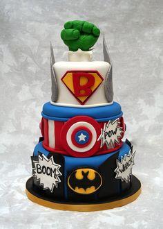 Superhero cake for Everetts bday! Pretty Cakes, Cute Cakes, Amazing Cakes, Beautiful Cakes, Marvel Cake, Marvel Dc, Dessert Original, Gateaux Cake, Superhero Cake
