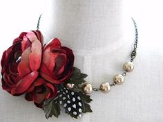 Flower, Feather, + Beads Statement Necklace by NuevaEspana on Etsy