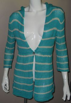 Wooden Ships Teal Green Striped Cardigan Sweater Size M/L Cotton Hood 3/4 Sleeve #WoodenShips #Cardigan