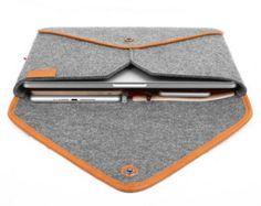 Sleeve Laptop Case Tablet Sleeve Wool Felt Case for Macbook Pro Genuine Leather Envelope Edge Style TopHome Macbook Bag, Macbook Pro Case, Laptop Bag, Mac Book, Macbook Air 13 Sleeve, Felt Case, Laptop Sleeves, Wool Felt, Sewing Projects