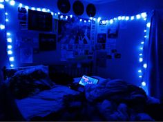 Pin By Amelia On Blue Aesthetics Aesthetic Bedroom Neon bedroom neon Pin By Amelia On Blue Aesthetics Aesthetic Bedroom Neon Blue Aesthetic Dark, Neon Aesthetic, Aesthetic Room Decor, Makeup Aesthetic, Blue Rooms, Blue Bedroom, Blue Walls, Punk Bedroom, Room Ideas Bedroom