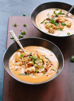 Creamy, vegan cauliflower soup made with coconut milk and spiced with curry. This healthy, comforting soup is perfect for chilly days.