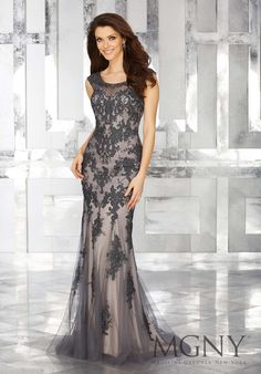 MGNY | Madeline Gardner, Evening Dress style 71632. Grey Form Fitting Special Occasion Gown Featuring Embroidered Lace Appliques and Sparkly Beaded Details. Crystal Beaded Classic Neckline with Illusion Elements. Available: Mocha Pink, Charcoal Grey. Perfect for any Formal event including a Military Ball and Mother of the Bride.