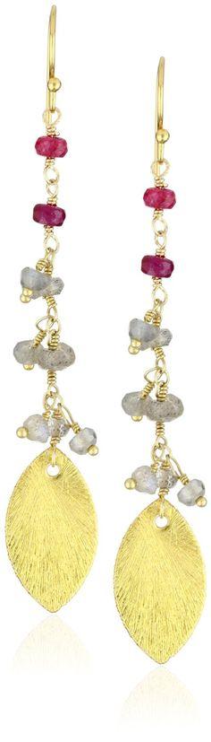 Wendy Mink Filament Rosary Leaf Earrings