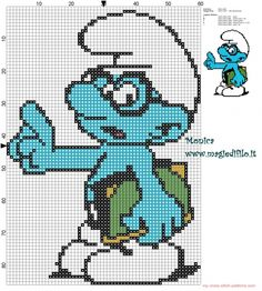 Brainy Smurf cross stitch pattern