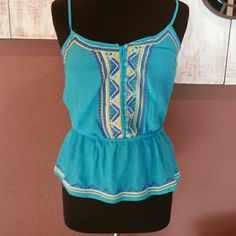 Very sweet spaghetti strap blue summer blouse. Daughter never wore.  NWT ⚡️⚡️⚡️FINAL CLEARANCE ⚡️⚡️⚡️PRICE FIRM Mustard Seed Tops Blouses