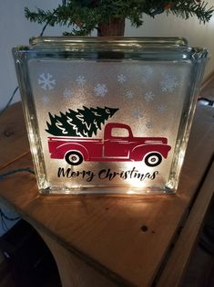 Arts And Crafts Stores Nyc Christmas Glass Blocks, Cricut Christmas Ideas, Christmas Truck, Christmas Fun, Holiday Crafts, Christmas Decorations, Christmas Signs, Christmas Crafts To Sell Bazaars, Etsy Christmas