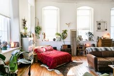 Jessie and Deanna's large loft studio apartment is in a renovated church.