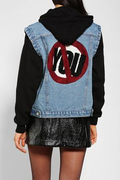Love the anti-you patch on the back of this UNIF denim jacket. #urbanoutfitters