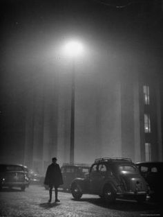 Paris in the fog as seen by American photographer Yale Joel, 1948.