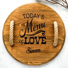 Love is in the Menu Snack Platter, Snack Bowls, Wooden Serving Trays, Serving Board, Wood Slices, Handmade Wooden, Bamboo Cutting Board, Safe Food, Natural Wood