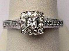 Princess Cut Halo Vintage Cathedral Diamonds Bridal Engagement Ring (0.45ct. tw)- RG331254099885