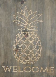 Pineapple welcome sign by UniquelyJane12 on Etsy