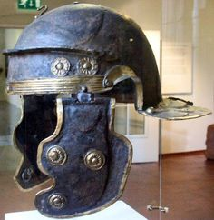 "Roman Gallic ""G"" helmet, 1st century A.D. Rhine River at Mainz-Weisenau. Worms museum"