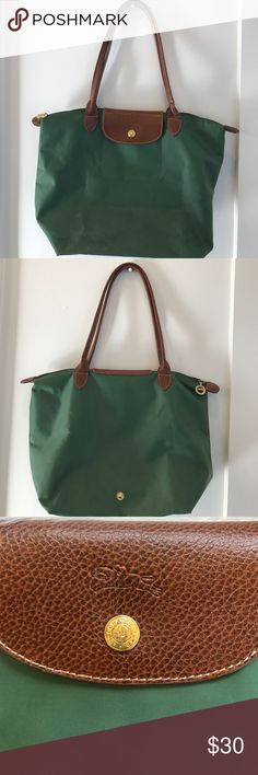 Longchamp Green Tote Green tote with wear. A few water marks. Gold hardware Longchamp Bags