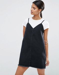 ASOS | ASOS Denim Mini Slip Dress in Washed Black with Raw Hem at ASOS