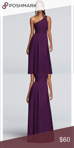 Illusion Lace and Satin Dress Bridesmaids dress from DB. No permanent alterations, worn once. Plum. Has pockets. David's Bridal Dresses