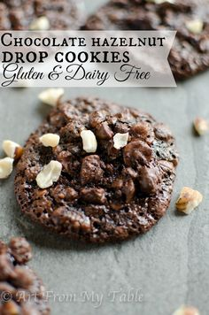 ridiculously easy to make! Satisfy your sweet tooth in 20 minutes with these chocolate hazelnut drop cookies. Bonus~Gluten free and dairy free (but you'd never know by the taste! Sweets Recipes, Fall Recipes, Real Food Recipes, Baking Recipes, Christmas Recipes, Thanksgiving Recipes, Vegetarian Recipes, Yummy Recipes, Cookie Recipes