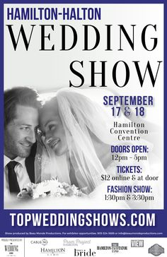 """The Hamilton Halton Fall Wedding Show is quickly approaching on September 17 & 18 at the Hamilton Convention Centre. Grab your tickets now and you will get $2 off your ticket price with coupon code """"FBH16"""". Save 50% off admission when you come to the show between 2pm-5pm with coupon code """"FBH50"""". http://bit.ly/2b18ZOc"""