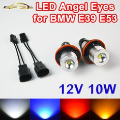 2 Pieces(1 Set) 2*5W 10W Bridgelux LED Chips LED Marker Angel Eyes White Blue Red Yellow Color for BMW E39 E53 E60 E61 E63 E64