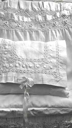 Vintage linens from: Vintage Rose Brocante Vintage Roses, Vintage Lace, French Vintage, Linen Fabric, Linen Bedding, Bed Linens, Linen Pillows, Linens And Lace, Heirloom Sewing