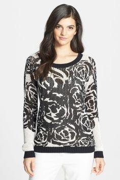 Chelsea28 Rose Motif Open Knit Sweater by Assorted on @HauteLook