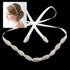 Hot Rhinestone Applique Ribbon Headband Tiara For Bridal Wedding Proms Decor