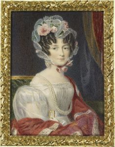 Voctoria Duchess of Kent  by Alfred Chalon He was the son of a Huguenot watchmaker who settled in England in 1794. Alfred Chalon trained at the Royal Academy Schools and subsequently exhibited at the Royal Academy between 1801and 1860. His first royal subject was Princess Charlotte of Wales, painted posthumously He later became miniature painter to Augusta, Duchess of Cambridge and Portrait Painter in Watercolour to Queen Victoria (1837).