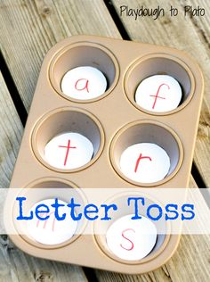 A fun-filled way to teach children letters. Could be used with sight words or math facts too. {Playdough to Plato}