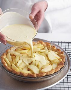 Apple-Custard Pie Pie season is coming! Master our Perfect Pastry Dough, then use it to make elegant French Apple-Custard Pie.Pie season is coming! Master our Perfect Pastry Dough, then use it to make elegant French Apple-Custard Pie. Apple Recipes, Sweet Recipes, Baking Recipes, French Recipes, Apple Desserts, Apple Tart Recipe, Gourmet Desserts, Passover Desserts, French Desserts