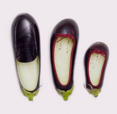 aubergine shoes - Fulvio Bonavia - A Matter of Taste Food Sculpture, Food Carving, Snacks Für Party, Fruit Art, Fruit And Veg, Food Humor, Cute Food, Funny Food, Picture Design