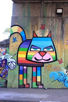 Love this - would love to paint something like this on my classroom walls.  street art by MINHAU.  000 cat