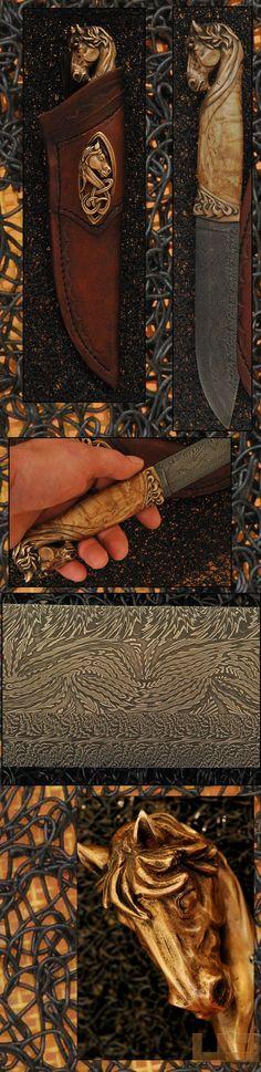 Gerdil Лоран - Скульптура - Человекфиксированной лезвия ножа. Дамаск лезвие несколькими Клод бары SCHOSSELER взрыв, Длина: 15 см. стабилизировалась вьющиеся ручку клена. Охрана и навершие дело литой бронзы с использованием утраченной восковой печатью. Общая длина 29 см. Дело ручной работы седло кожа Cool Knives, Knives And Tools, Knives And Swords, Damascus Blade, Damascus Steel, Tactical Swords, Blacksmithing Knives, La Forge, Forged Knife