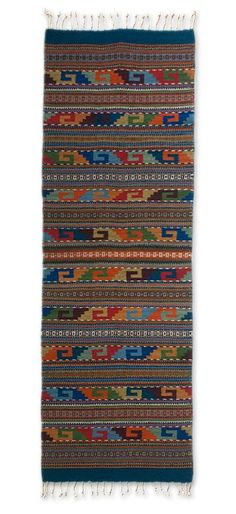 Zapotec Wool Rug 2 X 6 Multicolor Runner Mexico - Feast in Monte Alban | NOVICA