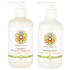 All natural, allergy tested, not tested on animals, great reviews. Baby Mantra Newborn Baby Bath Shampoo and Body Wash Plus Calming Lotion Combination Set