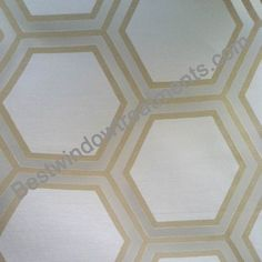 "Renegade Burnout Champagne gold color on white sheer fabric ready-made Draperies | honeycomb tile pattern  : 108"" or 120"" inch curtains 