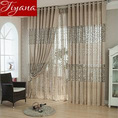 Striped Voile Curtains Small Trees Modern Simple Jacquard Curtains Yarn for Living Room Balcony Kitchen Curtains Tulle T&094 #20