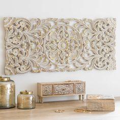 Déco murale dorée et blanchie 100x46 | Maisons du Monde