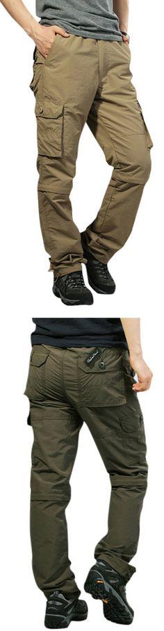 US$32.28 Mens Outdoor Elastic Waist Casual Pants Multi-pockets Detachable Sport Shorts