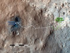 Curiosity's Travels Through Sol 56. This map shows the route driven by NASA's Mars rover Curiosity through the 56th Martian day, or sol, of the rover's mission on Mars (Oct. 2, 2012). The route starts where the rover touched down, a site subsequently named Bradbury Landing. The white line extending toward the right (eastward) from Bradbury Landing is the rover's path so far, and the green line shows its planned future route.