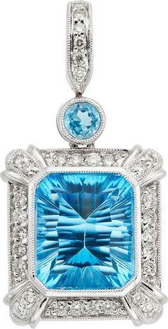 Blue Topaz, Diamond, White Gold Pendant